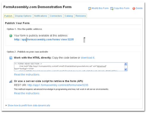 New Interface improvment: Better access to your form's HTML.