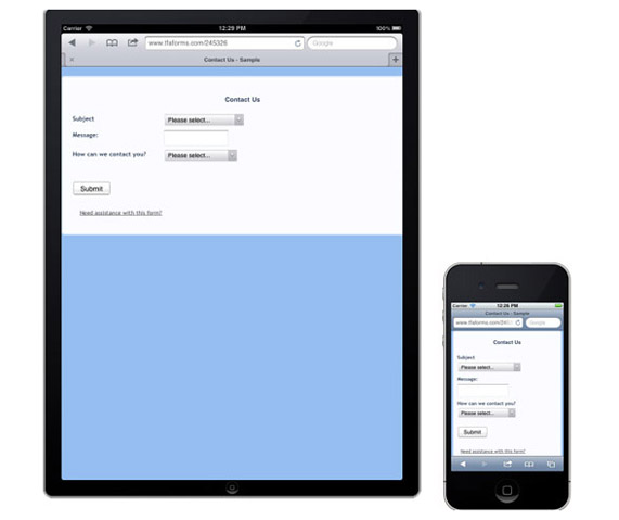 form for mobile